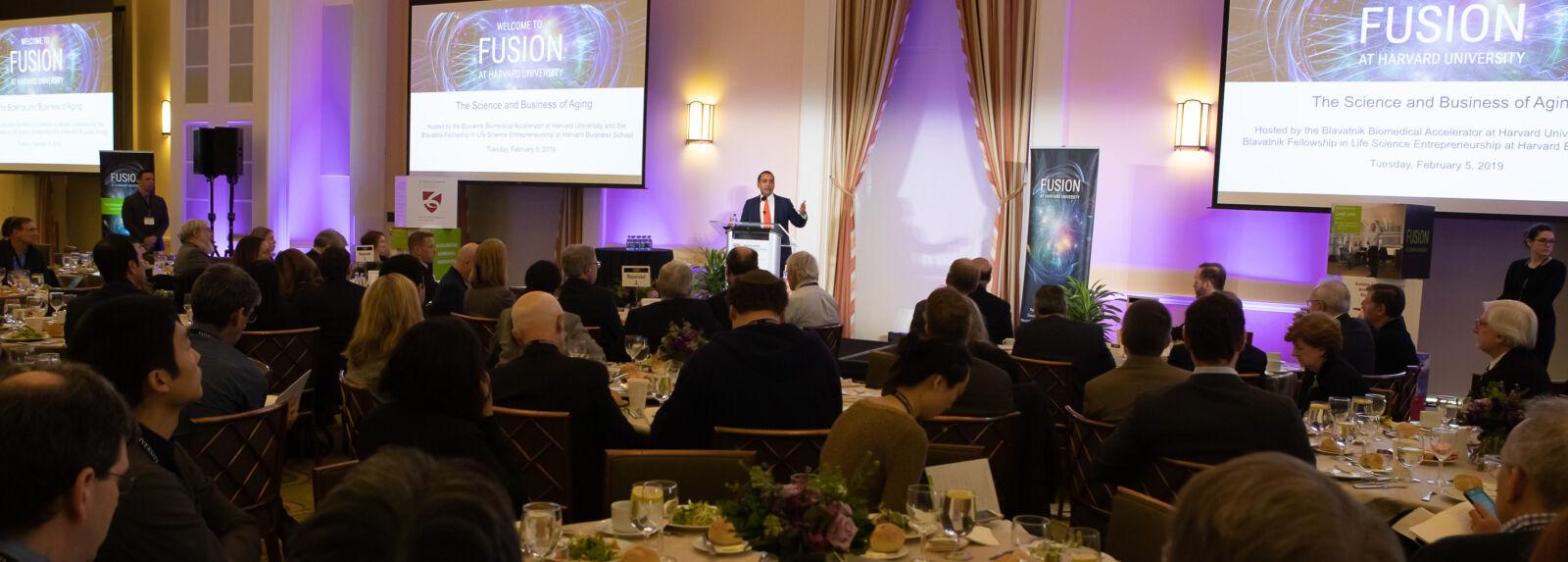 Harvard alumnus Sachin H. Jain speaks at the 2019 Fusion symposium. Image credit Russ Campbell.