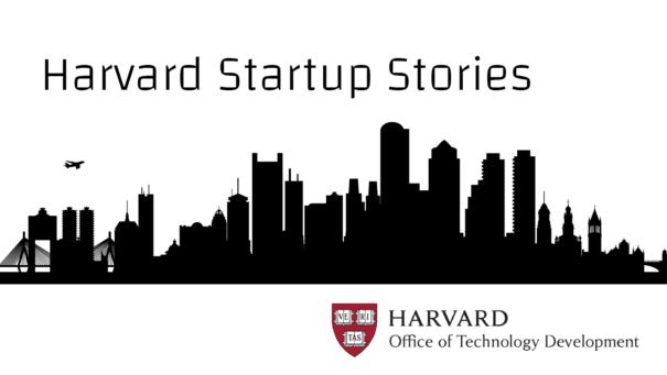 Harvard Startup Stories. Illustration of city skyline, silhouetted. Harvard Office of Technology Development.