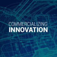 Commercializing Innovation text on a textural background.