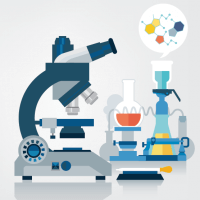 Stock illustration of discovery in a chemistry lab.