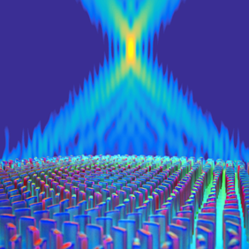 The ultra-thin planar lens in this 2016 illustration consists of titanium dioxide nanofins on a glass substrate. Illustration courtesy of Peter Allen/Harvard SEAS.
