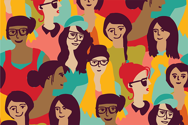 Illustration of a diverse crowd of women